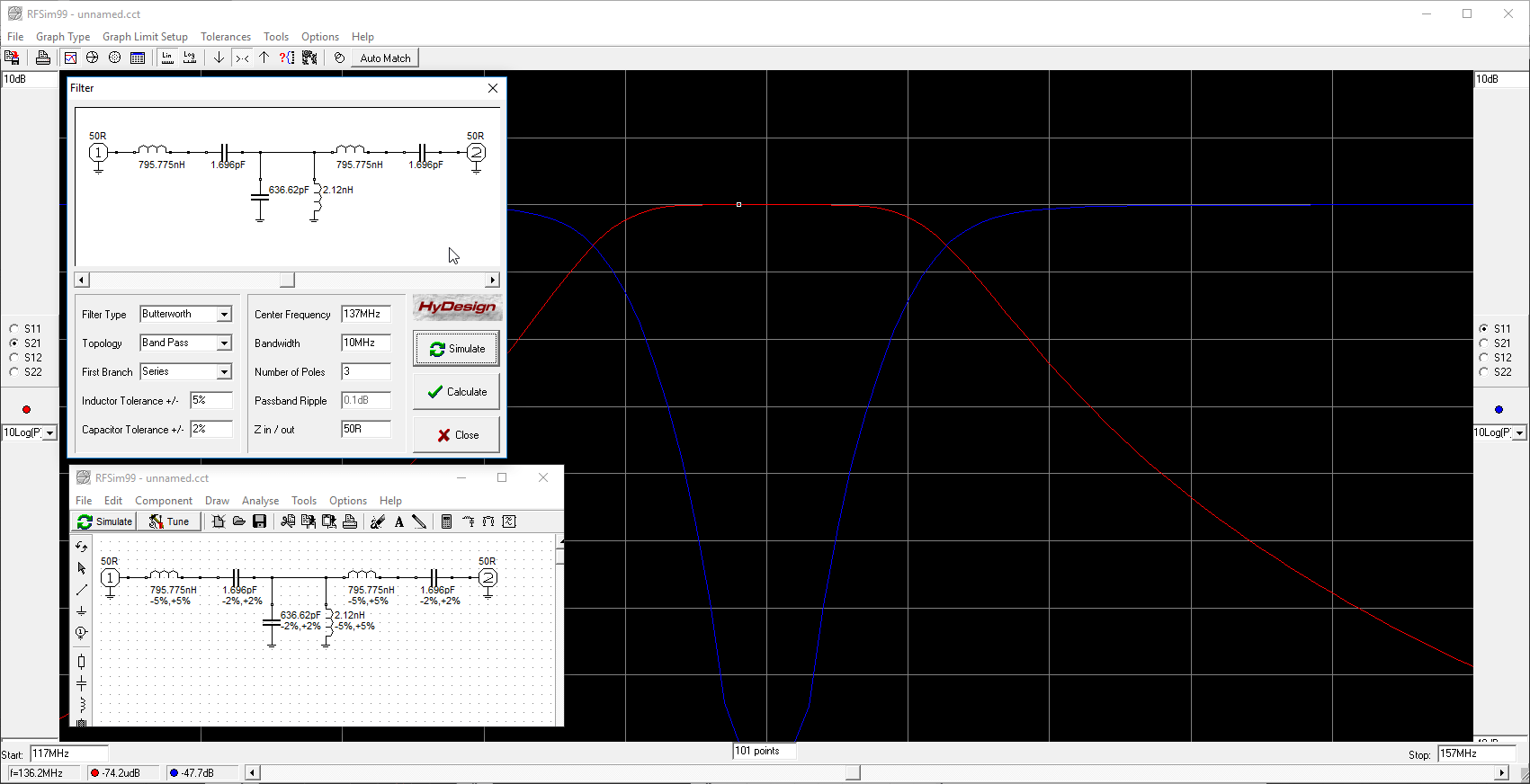 Other Simulation Software Suits Rf Circuit Design Applications Designing A Simple Filter In Rfsim99