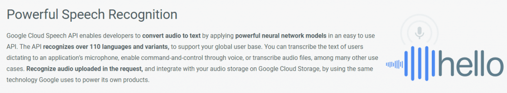 The Google Speech Recognition API