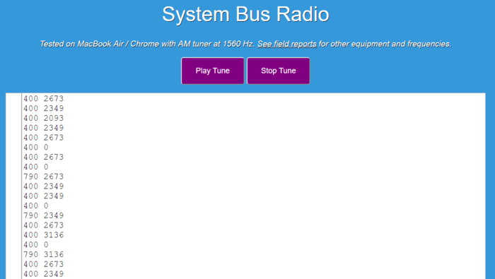 System Bus Radio web app
