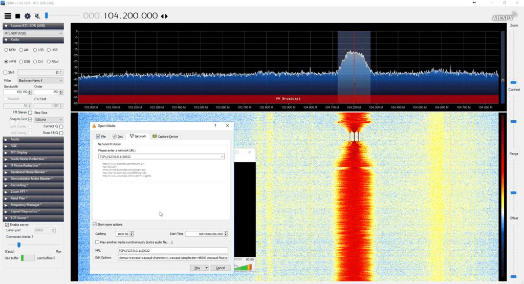 The plugin streaming via TCP to VLC