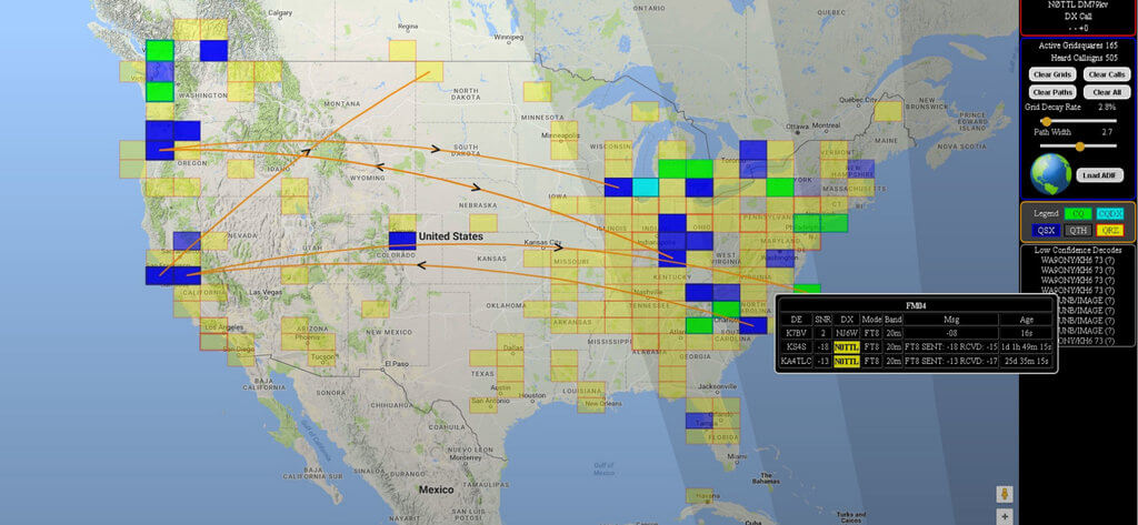 GridTracker Mapping out Weak Signal Communications.