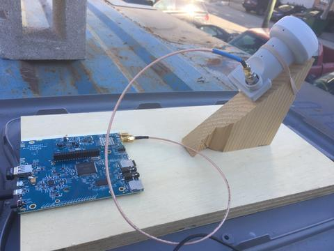 Outernet Dreamcatcher Board running with an LNB