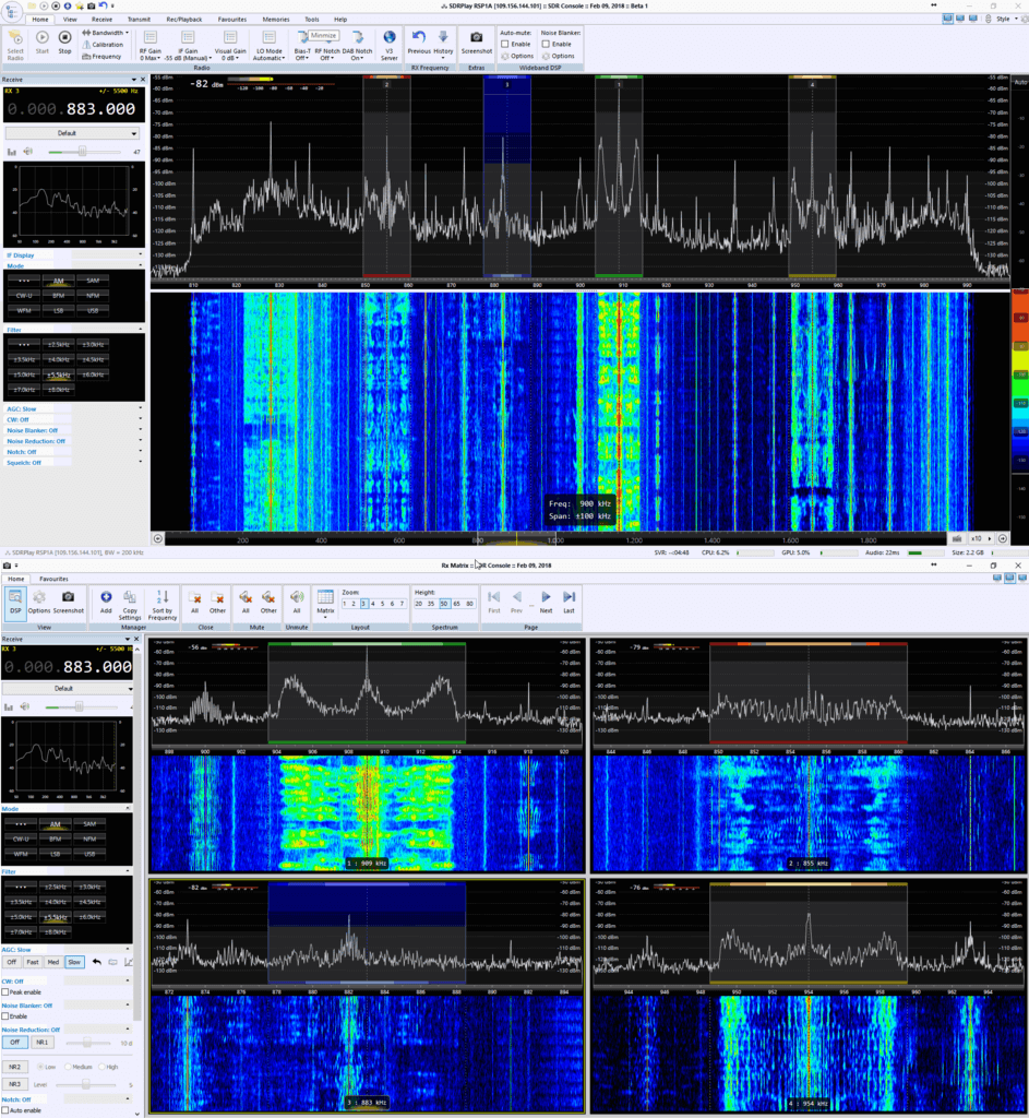 SDR-Console V3 Beta 1 Receiving Remote RSP1 in Matrix View