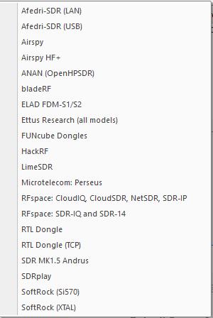 SDRConsole V3 Beta Supported Radios