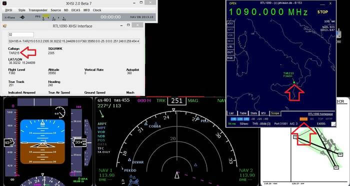 1090 XHSI 737 Cockpit Simulation from ADS-B Data