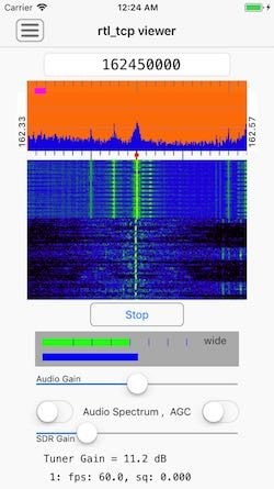 Screenshot of the RTL-SDR iOS app