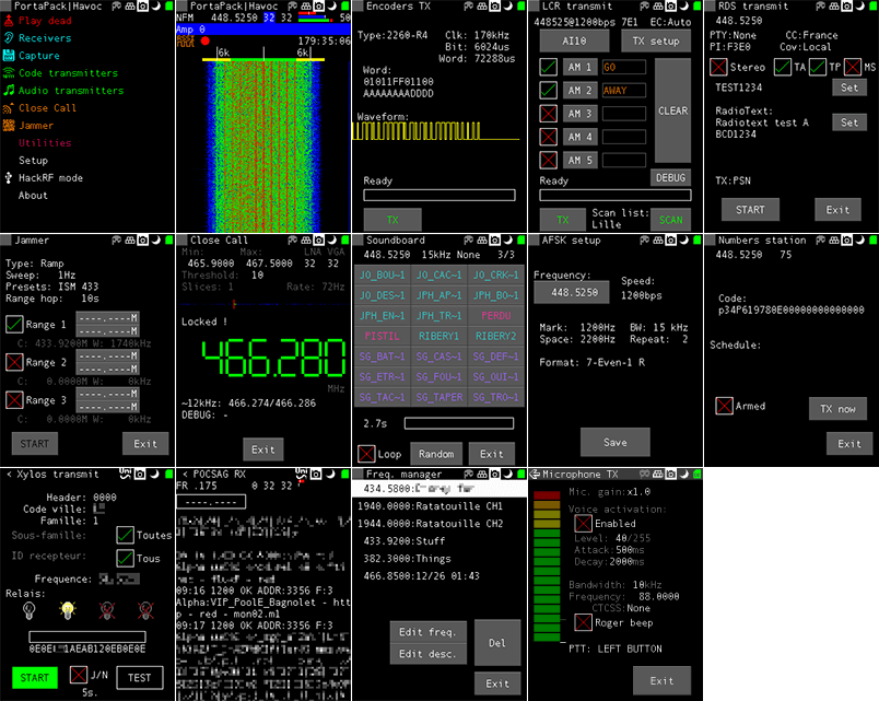 More Havok firmware screenshots from the GitHub page.