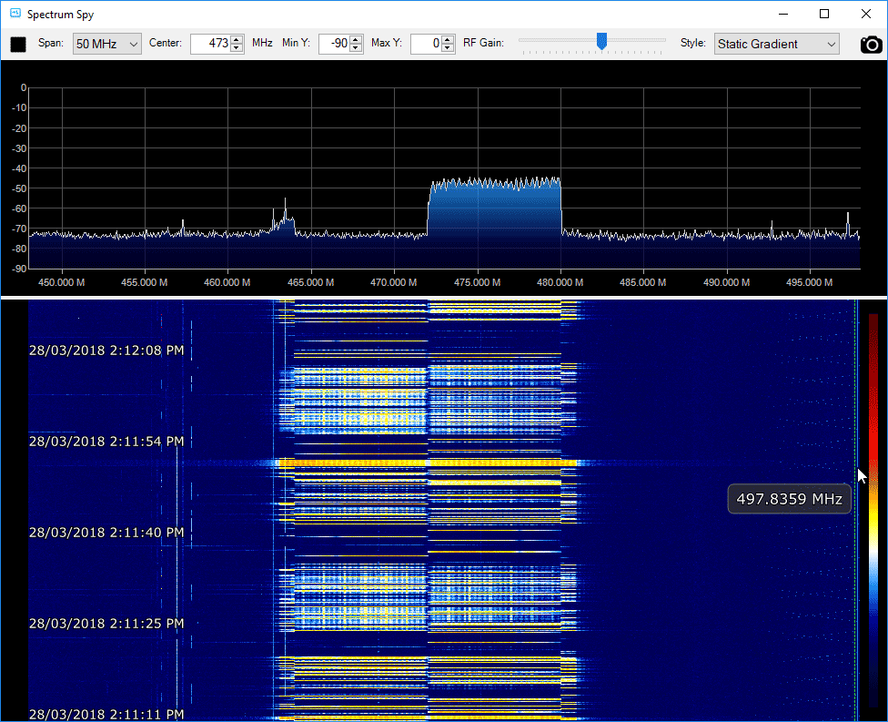 Viewing a 2.4 GHz WiFi signal on an Airspy by using moRFeus as a downconverter.