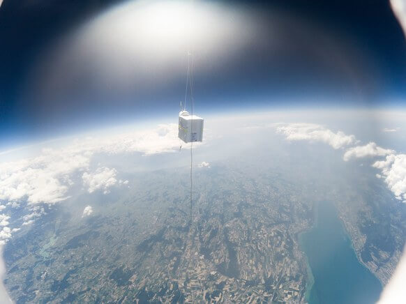 Radiosonde in flight captured by a GoPro camera.