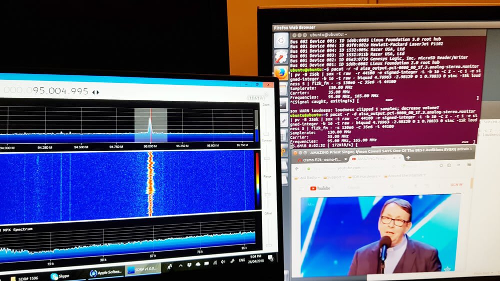 FL2K broadcasting WFM with fl2k_fm.