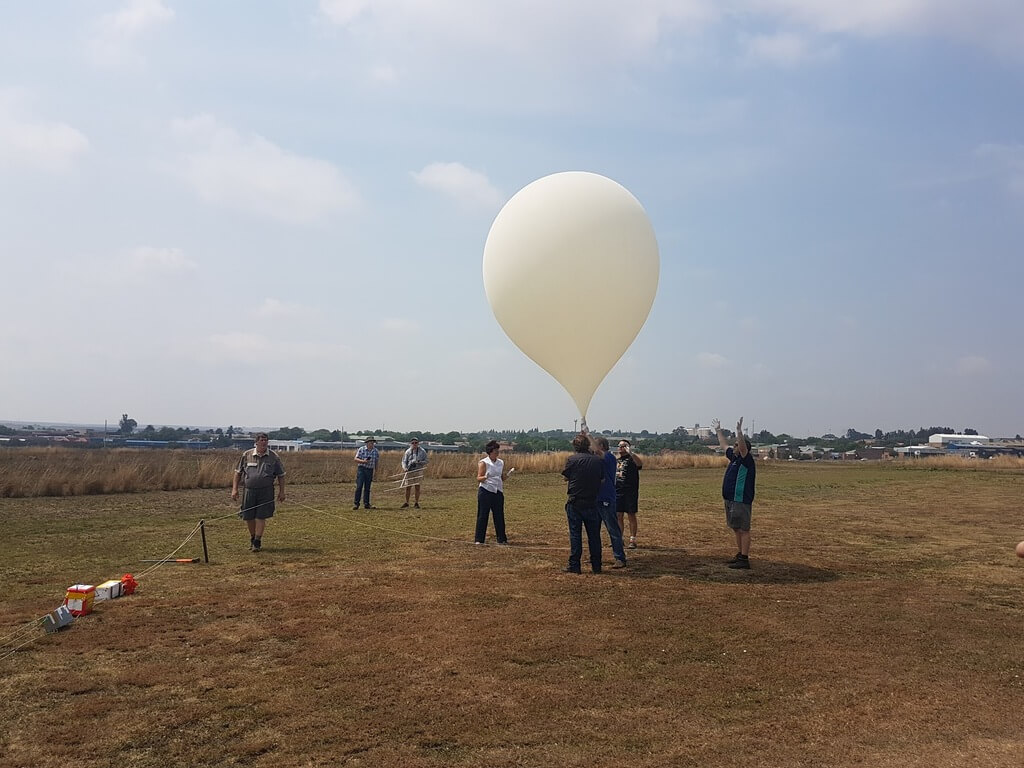 Launching the High Altitude Balloon.