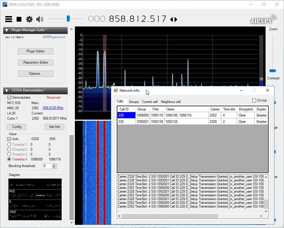 SDR# TETRA Plugin Net Info Window