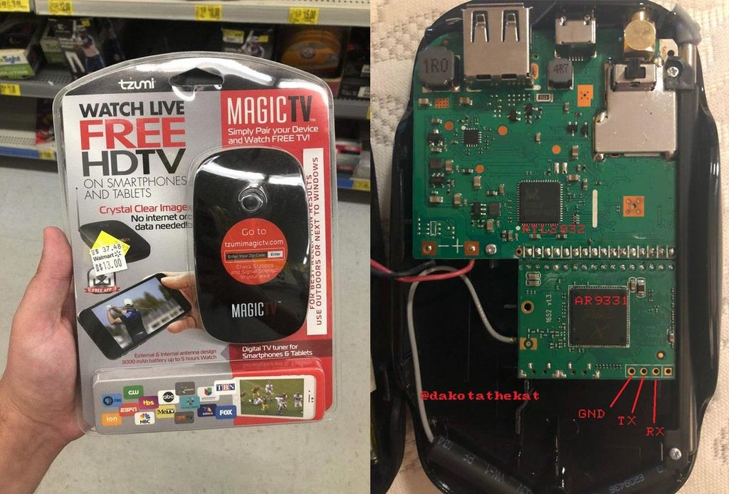 """The """"Tzumi MagicTv"""" contains an RTL-SDR, OpenWRT Board and Battery Pack."""