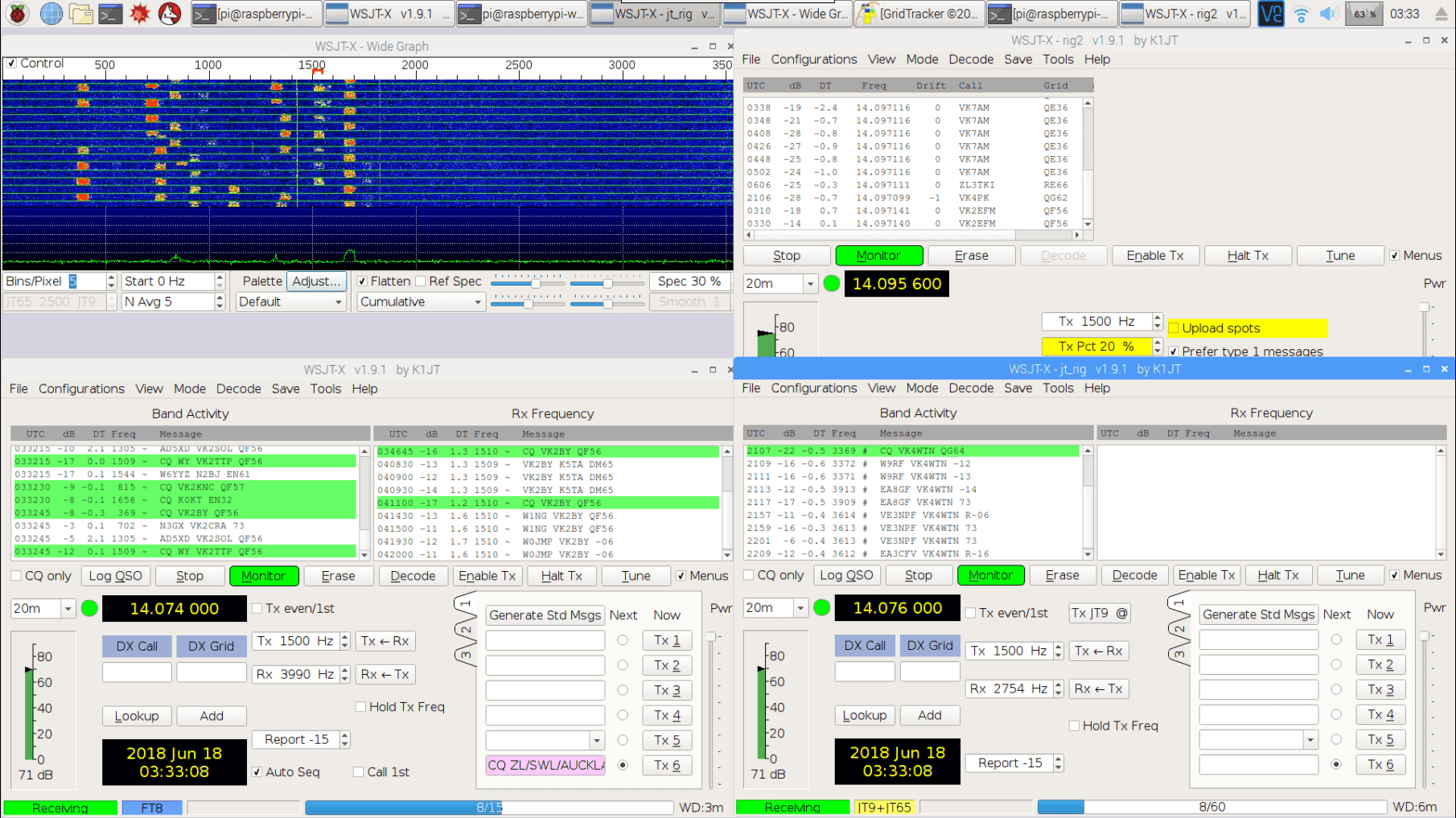 Monitoring FT8, JT9, JT65 and WSPR simultaneously with an RTL-SDR V3 and Pi 3