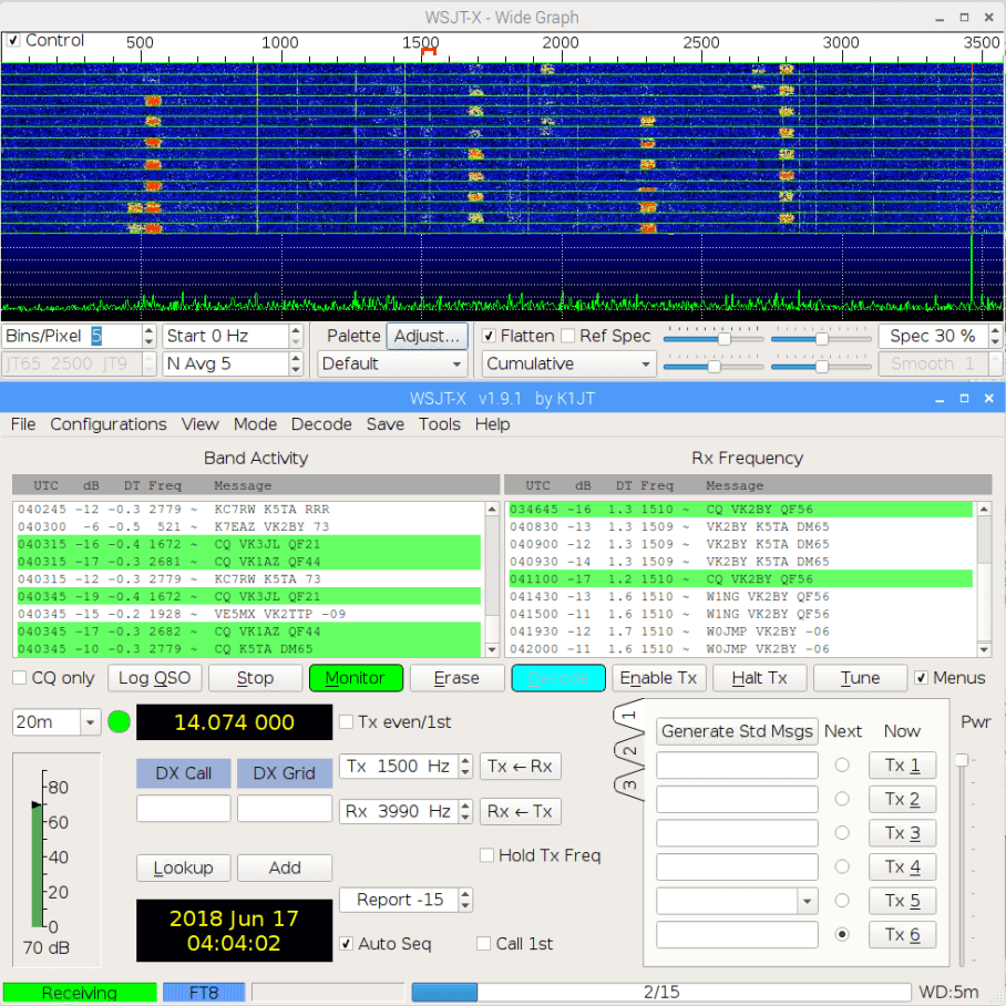 WSJT-X Decoding FT8 With an RTL-SDR V3 in Direct Sampling Mode on a Pi 3