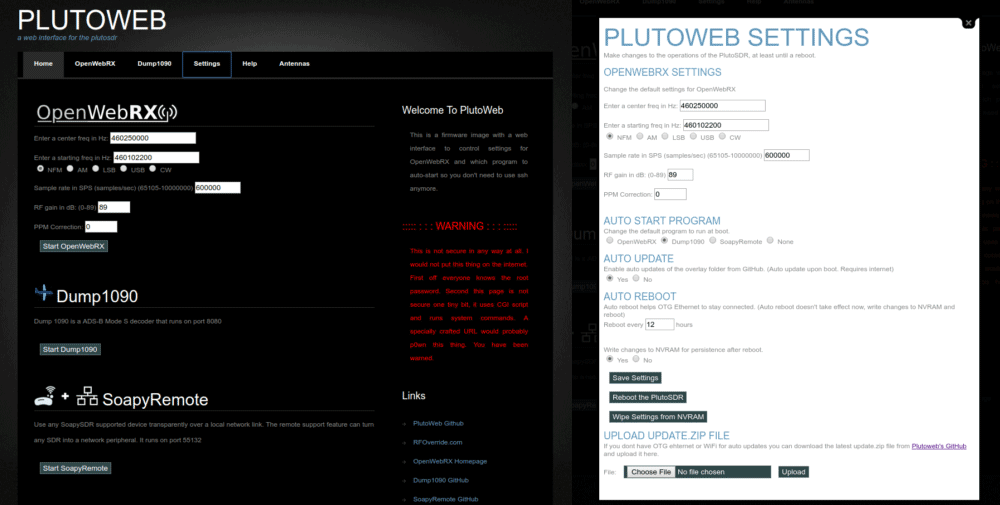 PlutoWeb Web Interface Running on the PlutoSDR.