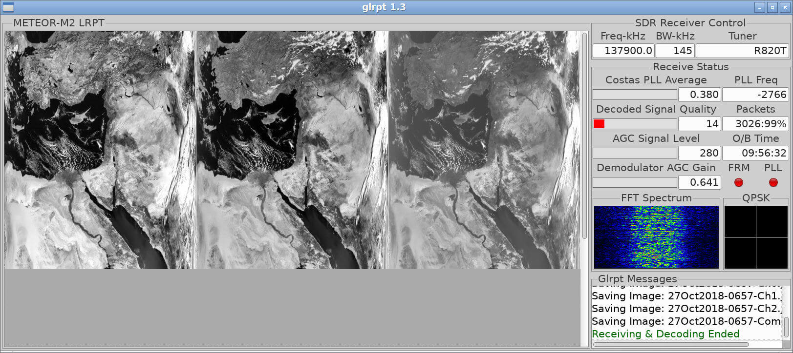 GLRPT User Interface Showing Processed Meteor M2 Images