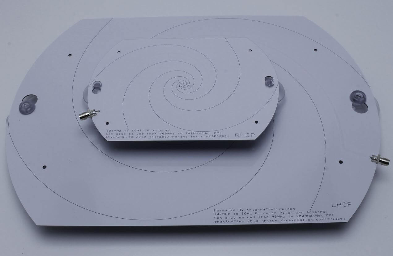 The 800 MHz+ and 300 MHz+ spiral antennas by Hexandflex