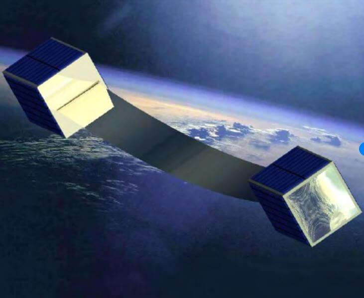 An artists rendition of the CubeSail solar sail deployment