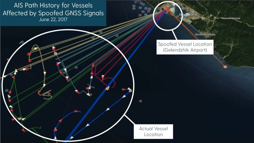 C4ADS Research shows GPS spoofing detected via AIS data