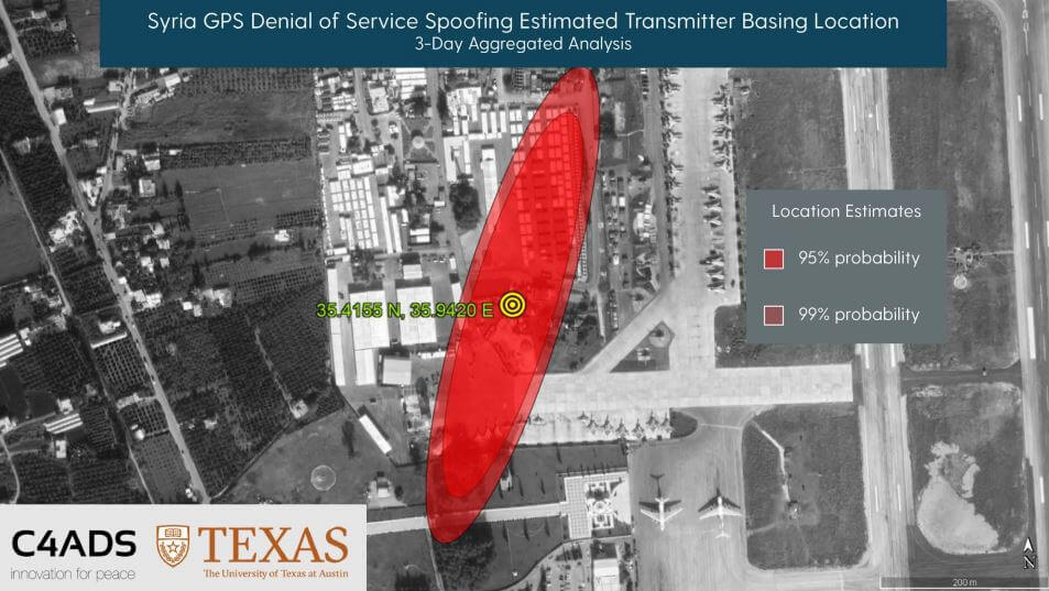 C4ADS and UT Texas determine the location of a GPS spoofer in Syria via ISS GPS data