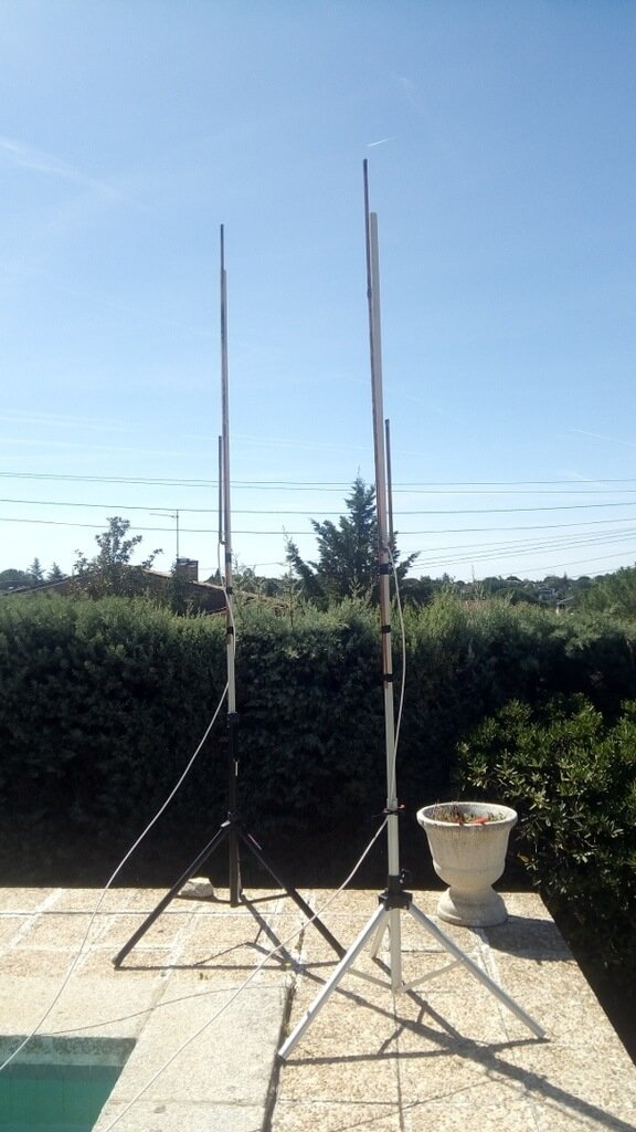 Two J-Poles used in LimeSDR Angle of Arrival Experiments.