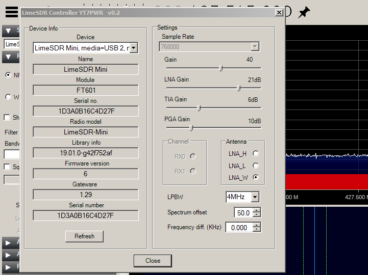 LimeSDR Mini Control Interface in SDR#