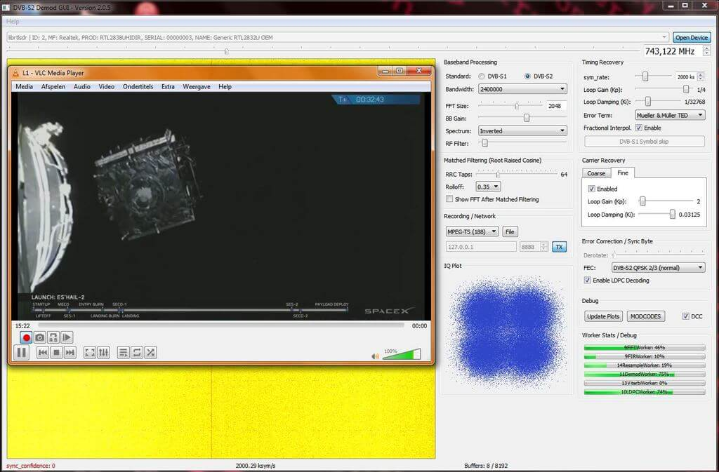 Happysat Decoding a DVB-S2 stream from Es-Hail2 with an RTL-SDR V3.