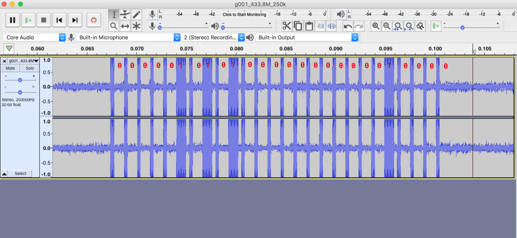 Doorbell Signal Analysis in Audacity. Captured with an RTL-SDR.