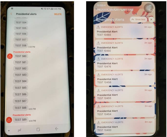 Spoofed Presidential Alerts Received on a Galaxy S8 and iPhone X.