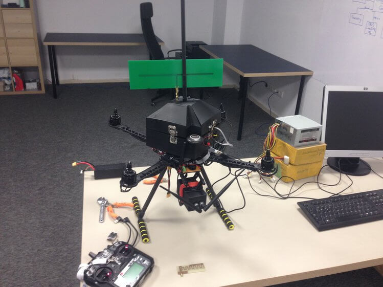 Dronesense: Drone Detection and Jammer Mounted on another Drone, running on a LimeSDR.