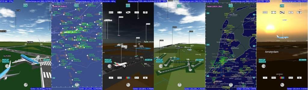 2D and 3D Screenshots from ADS-B Flight Tracker