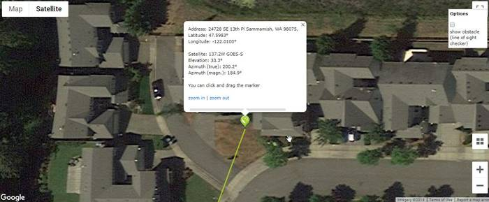 Dishpointer example. Line the dish up with the driveway corner.