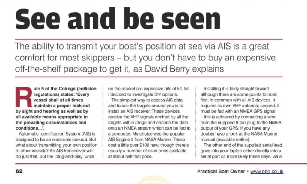 An excerpt of the Practical Boat Owner AIS Share RTL-SDR Article.