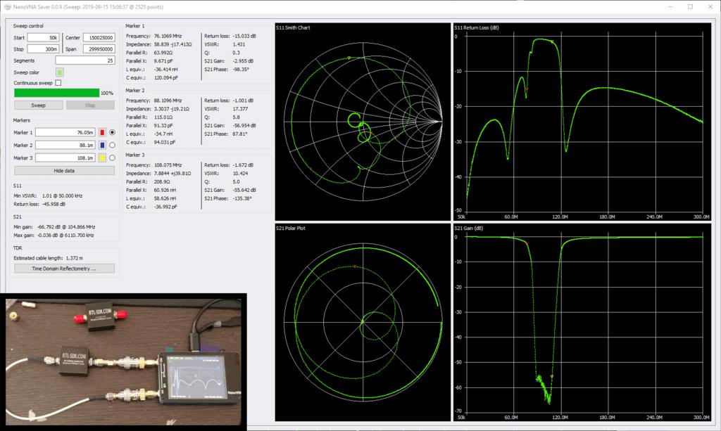 Testing our RTL-SDR.COM BCFM Bandstop filter with a NanoVNA and the NanoVNASaver Software.