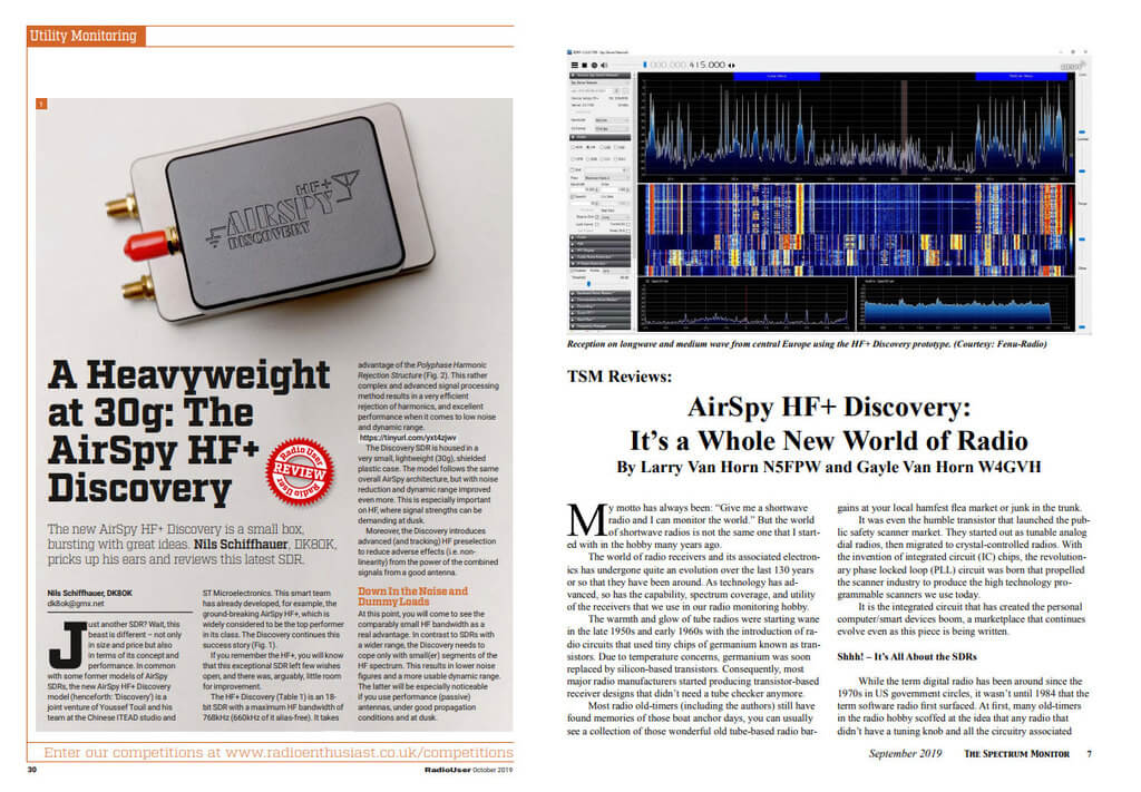 Covers from the Spectrum Monitor and Radio User Airspy HF+ Discovery Reviews