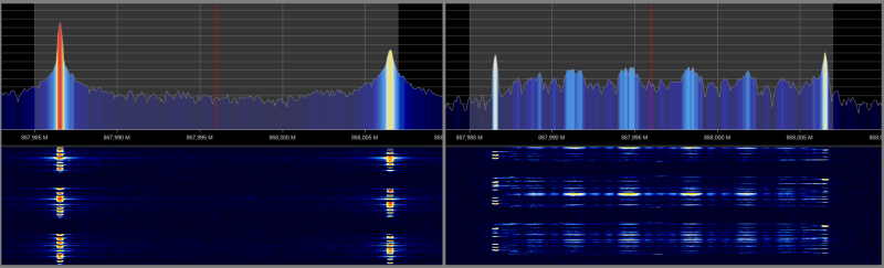 Comparing the spectrum of a pure FSK signal, versus a Gaussian FSK signal.
