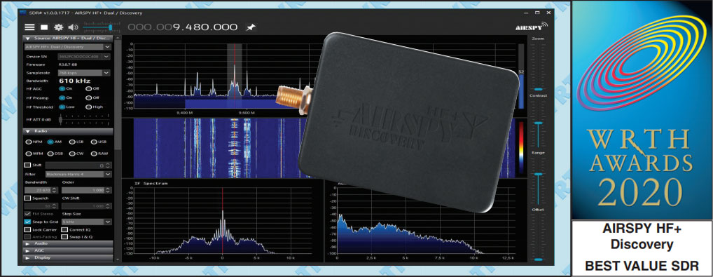 "World Radio TV Handbook (WRTH) Reviews the Airspy HF+ Discovery and awards it the 2020 ""best value SDR"" award."