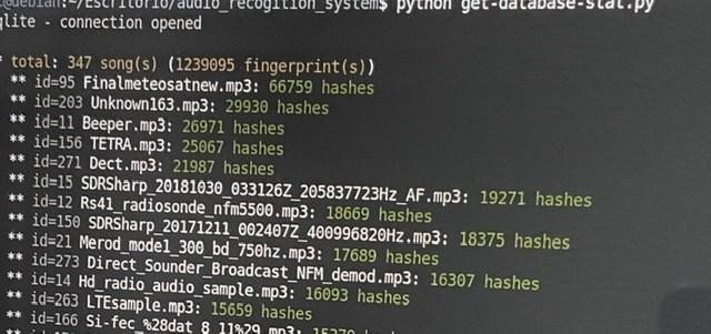Fingerprinted Audio Samples of Radio Signals