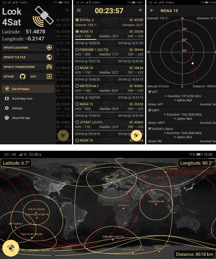 Look4Sat Android App Screenshots