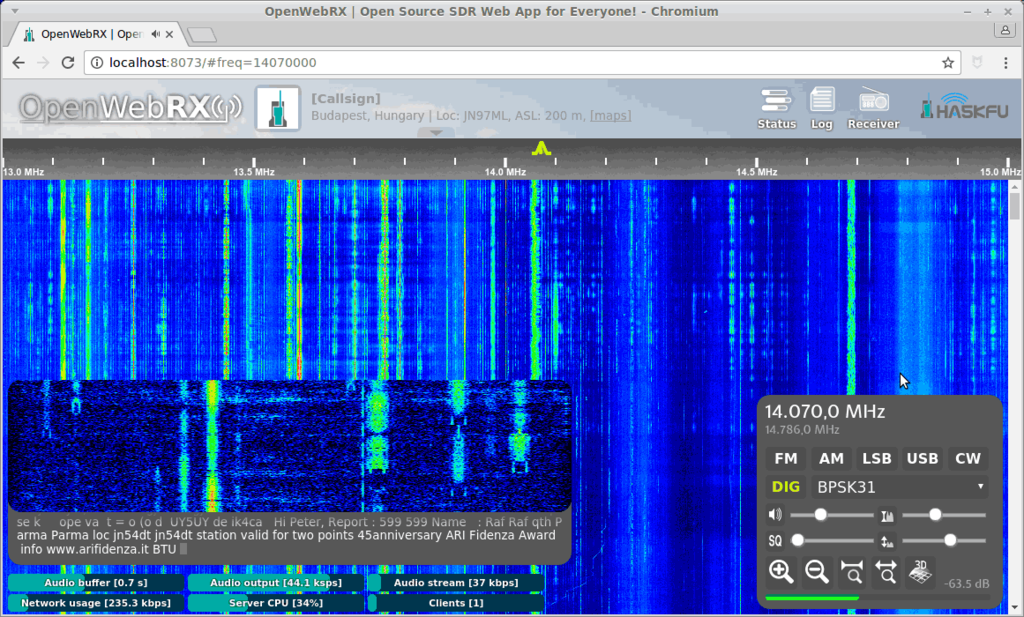 OpenWebRX Screenshot