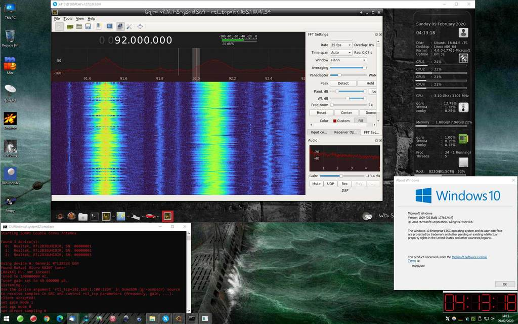GQRX Running on Windows 10 via WSL