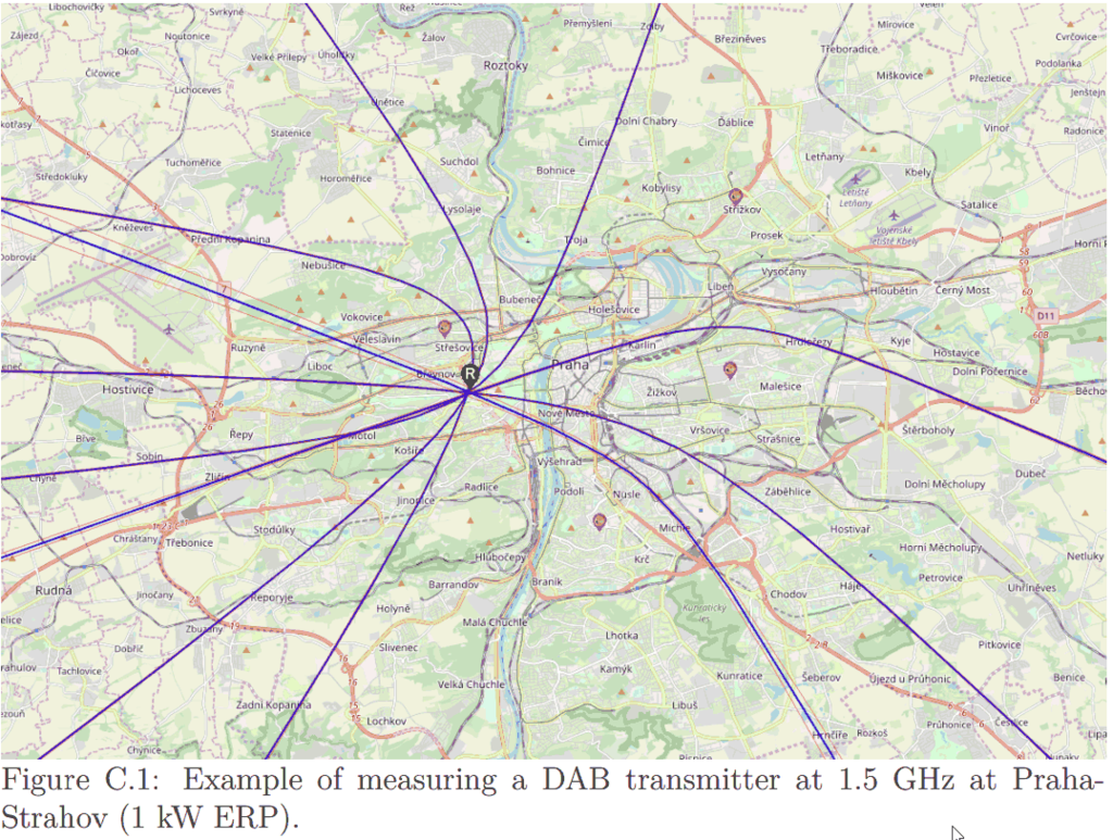 TDoA results achieved with RTL-SDRs distributed around Prague.