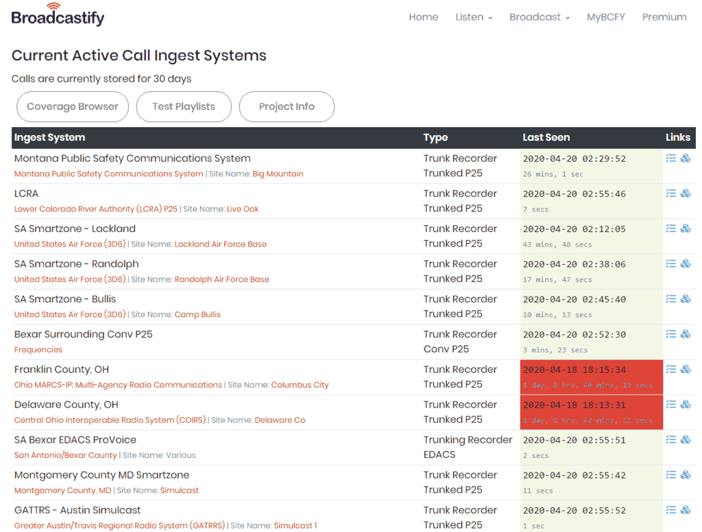 Broadcastify Calls