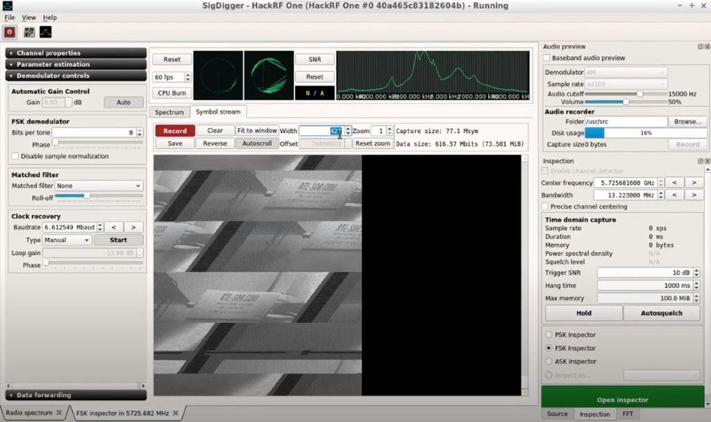 SigDigger Decoding NTSC Video from a Drone Camera