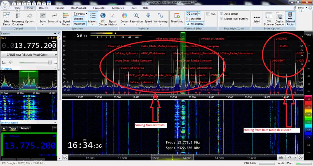 Shiva DX Cluster running on SDR-Console V3