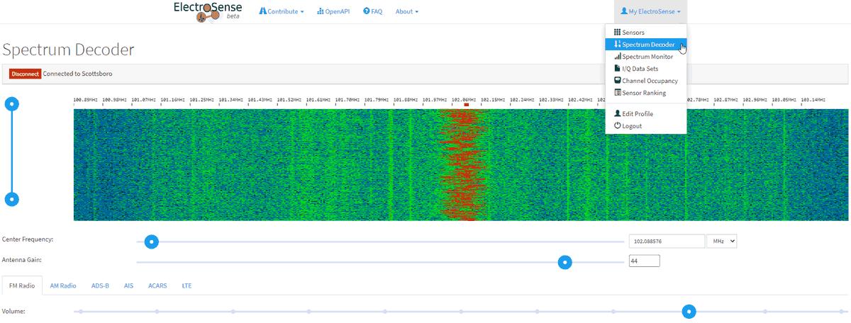 Electrosense web GUI decoding a wideband FM signal